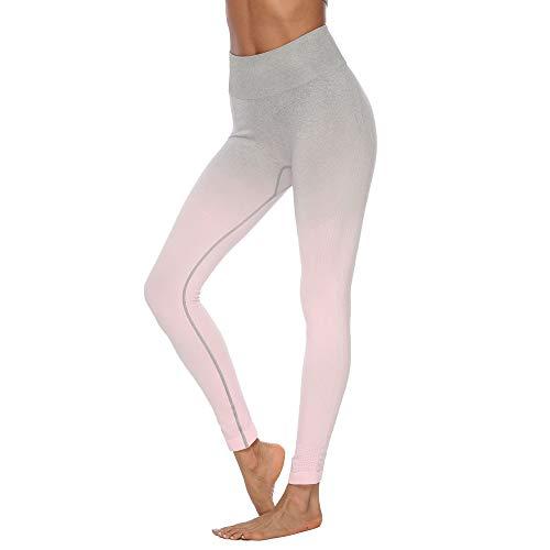 Eaylis Damen Hohe Taille Sport Leggings, Damen Farbverlauf Sport Leggings, Yoga Sporthose, Damen Leggings, Classics Stretch Workout Fitness Jogginghose (Rosa, Small) - Lange Pullover Leggings