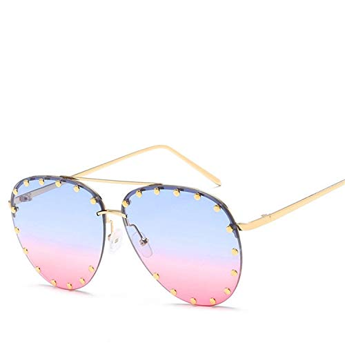 Daawqee Gafas de sol,Gafas para fiestas,Vintage Metal Sunglasses Women Men Fashion Eyewear Unisex Trendy Rivet Sun Glasses NEW High Quality Sunglasses UV400 03