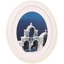 Vosarea Cadre de Photo en Bois Ovale avec Cadre Mural pour Cadre de Table, Montage Mural pour décoration intérieure - Envoi sans Couture Clou et Clou (Blanc)
