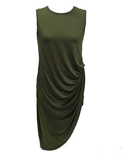 Moollyfox Femmes Pure Color Irrégulier Sans Manches Robes Armée Verte