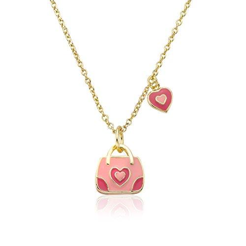 Little Miss Twin Stars Shoebsessed 14K Gold überzog purpurrote Handtasche akzentuiert mit Emaille-Kronen-hängende Kette Halskette / 14