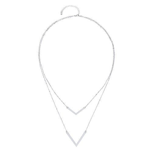 Front Row collar doble mujer color de plata diseño flecha - Longitud 60-67cm Front Row