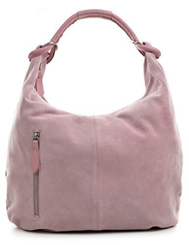 CNTMP Damen Schultertasche Leder, Hobo-Bag, Leder Handtasche Damen, Beuteltasche Wildleder, Leder-Tasche DIN-A4, 44x36x4cm (B x H x T) (Flieder) - Leder Schultertasche Handtasche Tasche
