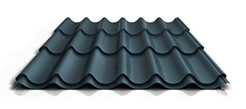 Pfannenblech | Ziegelblech | Dachziegelblech | Profil PS47/1060RT | Material Stahl | Stärke 0,40 mm | Beschichtung 25 µm | Farbe Dunkelgrau