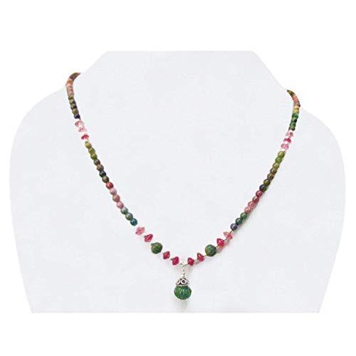 Designer-stil Anhänger (Designer grüner Turmalin geschnitzte Perlen Anhänger Halskette mit Sterling Silber Ergebnisse 16