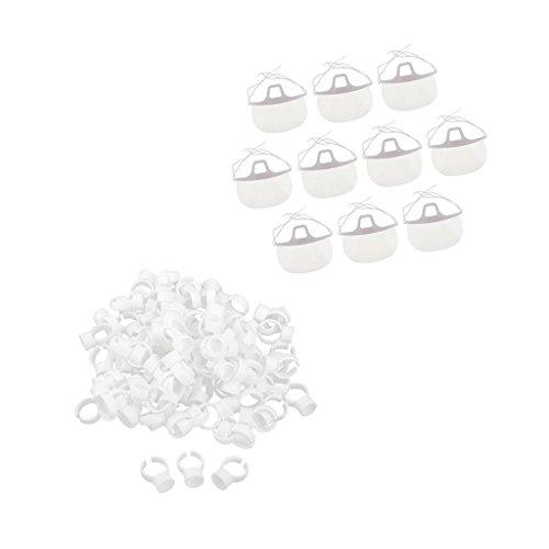 MagiDeal 10pcs Masque Facial Hygiénique Transparent avec 100pcs Anneaux Colle Extensions de Faux-cils pour Tatouage Nail Art Microblading Maquillage Permanent - Bague S