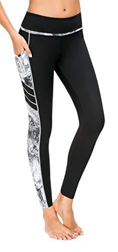 Flatik Damen Netzoberfläche Sport Gym Yoga Laufen Fitness Leggings Hose (Silber grau(X1173-68), S)