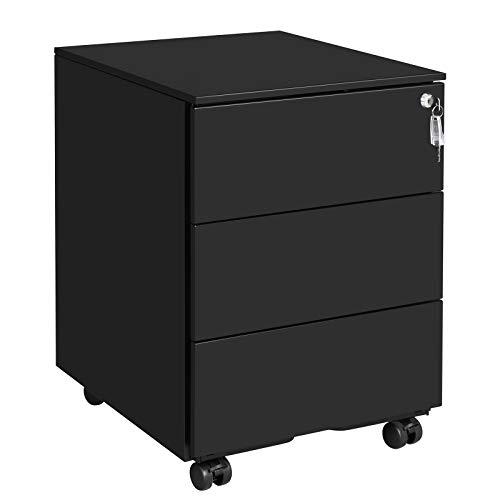 SONGMICS Rollcontainer, mobiler Aktenschrank, abschließbar, mit 3 Schubladen, Aufbewahrung von Akten, Büroutensilien, vormontiert, Büro, Home Office, 39 x 45 x 55 cm (L x B x H), Mattschwarz OFC63BK -