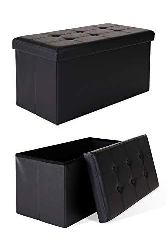 dibea SO00460, Sitzhocker faltbar, Lederimitat, 80 L, Bank 76 x 38 x 38 cm schwarz, Max 300 kg