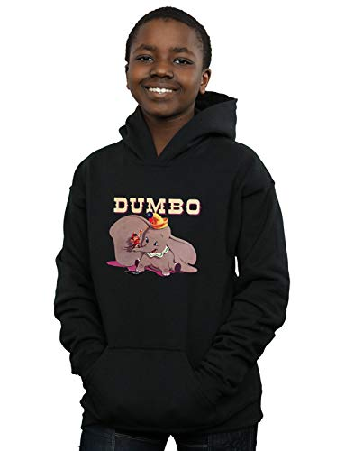 (Disney Jungen Dumbo Timothy's Trombone Kapuzenpullover Schwarz 7-8 years)
