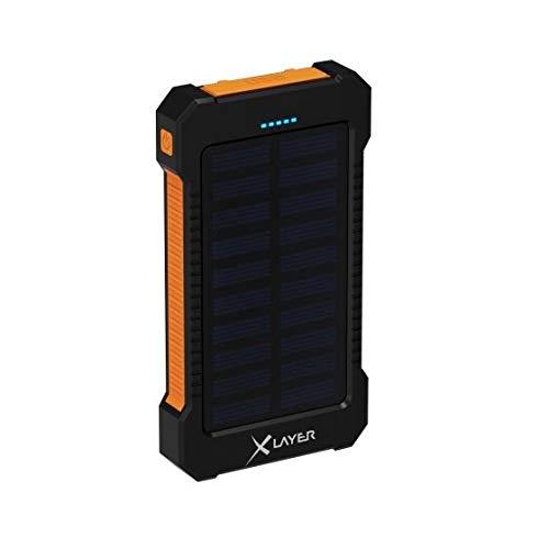 Powerbank Solar - 8000mAh Solar Power Bank für Outdoor Abenteurer mit Solarpanel Taschenlampe und Karabiner - XLAYER POWERBANK PLUS SOLAR 8000 - Gerät mobil über Solarpanel aufladen