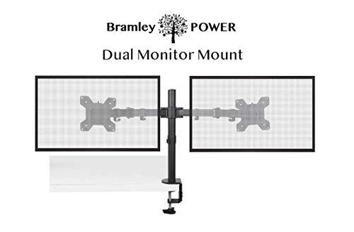 """Bramley Power Dual Monitor Bildschirm Schreibtisch Halterung Doppel VESA Halterung für Doppel / Twin 13"""" bis 30"""" Computer Display oder TV's Tilt, drehen und schwenken Funktionen"""