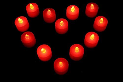PK Green De San Valentín Romántico Rojo Recargable Velas LED-Velas para casa, Mesas, restaurantes por PK Verde