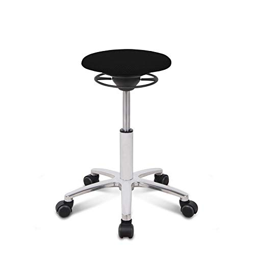 BALIMO ROLL, Bürohocker, Sitzhocker, ergonomischer Rücken-Trainer, Bezug schwarz