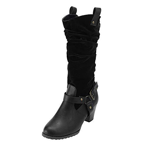 (MYMYG Winter Schuhe Frauen Mitte Ferse Einfarbig Kniehohe Stiefel Rutschfeste Flock Leder Booties High Tube Halbhohe Blockabsatz Reitstiefel Profilsohle Leder Optik Stiefeletten)