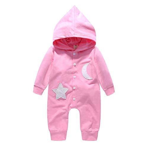 Babykleidung Shopaholic0709 Baby Strampler Junge (6M-24M) ET0181 Baby Langarm Stern Mond Kapuzen Jumpsuit Overall Kinder Langarm Baby Strampler mädchen