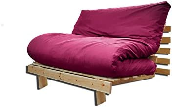 Sofá cama Roots, Natural, Funda Granate, 200 x 90 cm.