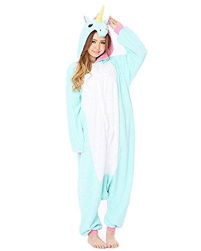 Minetom Flanell Karikatur Tier Pyjama Kostüm Für Halloween Karneval Fasching Unisex Erwachsene Schlafanzug Jumpsuit Anime Cosplay Einhorn Blau (Für Kostüme Ärmel Mit Schwimmen Damen)