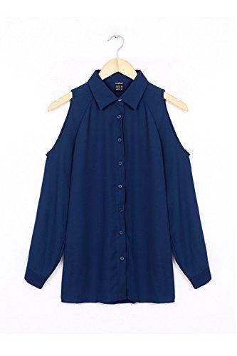 Damen Langarm aushöhlen Single Breasted Mode T-Shirts Navy