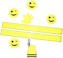 Kit de seguridad para niños en amarillo neón-2x Cinta reflectante, líquidos, banda reflector-5x leuc htauf adhesivo, 1x Reflector de llavero para seguro schulweg, jugar