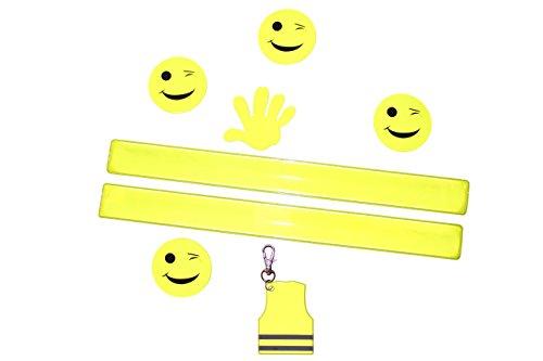Sicherheit für Kinder, Erstklässler, Schulkinder, Kindergartenkinder - Sicherheitsausrüstung - 5 Sticker für Fahrrad, Helm, Schulranzen, 1 Schlüsselanhänger, 2 Schnappbänder sicherer Schulweg
