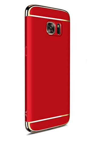 Funda Galaxy S6 Edge Plus,Luxury 3 en 1 Hard PC Rígido Bumper Carcasa Anti-Scratch ultrafina Slim Fit Protectora Case Cover para Samsung Galaxy S6 Edge Plus,Rojo
