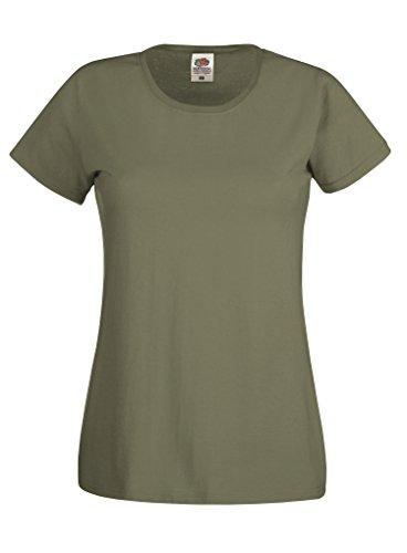 Fruit of the Loom - T-shirt - Femme Vert - Olive classique