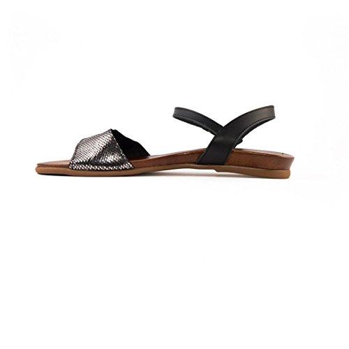 Sandales Vaquetilla Negro Plomo e16 - Porronet Noir