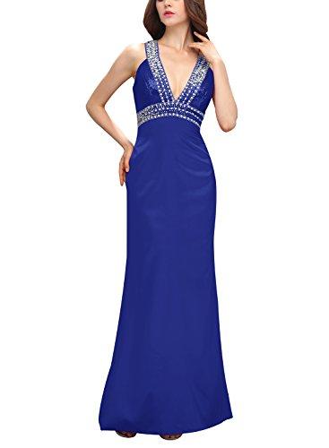 Bbonlinedress Robe de cérémonie Robe de soirée en satin emperlée col en V dos nu longueur ras du sol Bleu Saphir