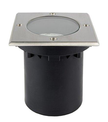 C-Light / Bodeneinbaustrahler Square IP65 / GU10 - 230 V für Halogen oder LED mit Durchgangsverdrahtung (Square Einbauleuchte Light)