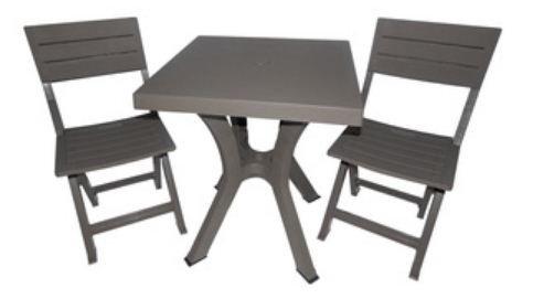 Style & ameublement SRL Ensemble Table et Deux chaises Taupe