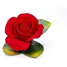 Rosa rossa Medium Dolly in porcellana, prodotta in Italia da Unionporcelain con marchio Napoleon, prodotto artigianale, Made in Italy