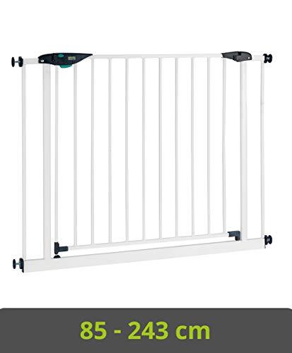 BOMI Kindertreppen Gitter 85-243 | Zum Klemmen | 90° Stop | Schließt automatisch | Baby Gitter weiss mit Automatik-Tür | Kindertreppenschutzgitter Tür und Treppenschutzgitter zum Klemmen