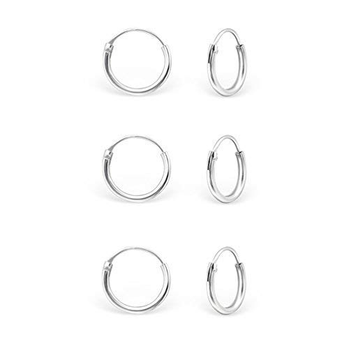 DTP Silver - Set da 3 paia di Orecchini da donna a Cerchio - Argento 925 - Spessore 1.2 mm, Diametro 10 mm