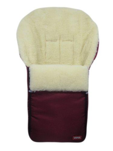 """Winter """"Lammfell Fußsack Lammfellfußsack """" aus 100% Lammwolle/ Schafwolle für Kinderwagen, Farbe Weinrot"""