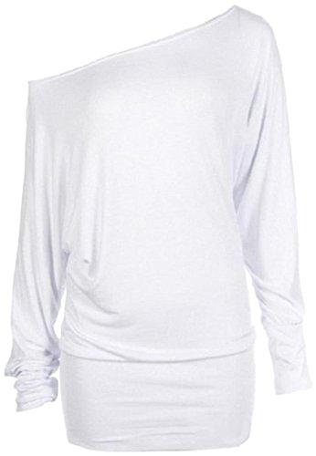 Nuovo donna plus size lungo Batwing maniche spalla scoperta Baggy Tops 36–62 White