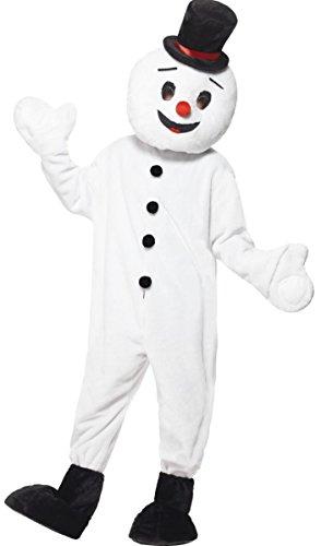 Fancy Me Herren Erwachsene Schneemann Maskottchen Weihnachten festlich Kostüm Kleid Outfit - Weiß, One Size