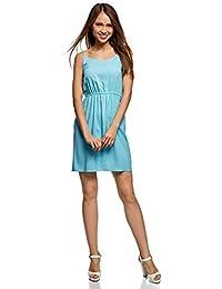 6d14ad9f67b33 oodji Ultra Damen Sommerkleid Basic mit Dünnen Trägern und Gummizug