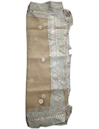 Fulkari @ Tissue Silk Chiku With Gota Patti Work For Women And Girls
