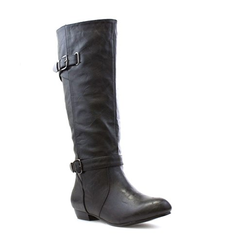 Lilley Womens Black Pull On Buckle Knee High Boot - Size 7...