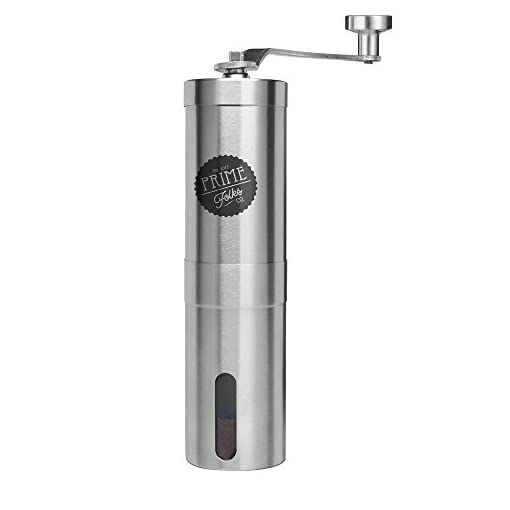 Prime Folks Co. Hand Coffee Grinder & Brewing Tips EBook ~ Stainless Steel Manual Coffee Bean Mill with Adjustable Ceramic Burrs ~ Compatible with Aeropress for Compact Travelling