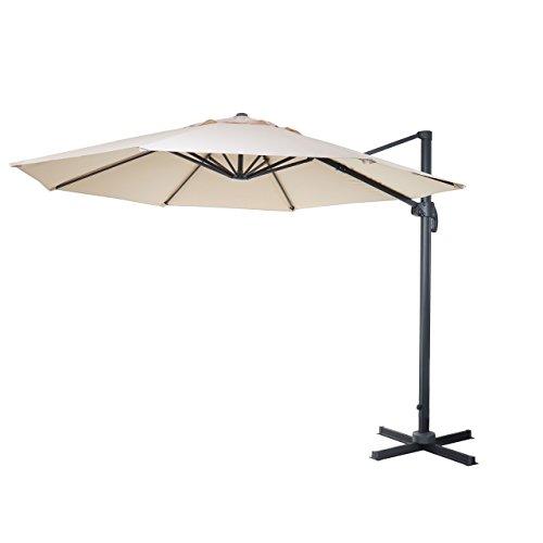 Gastronomie-Luxus-Ampelschirm Sonnenschirm N22, Ø 4m ~ creme ohne Ständer