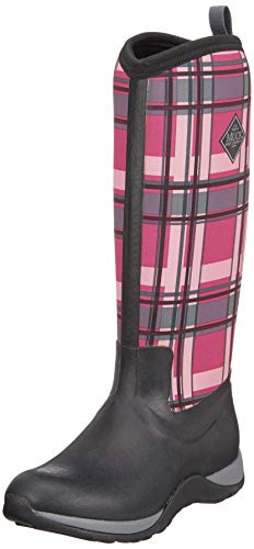 Muck Boots Damen Arctic Adventure Plaid Gummistiefel, Schwarz (Black/pink), 39/40 EU -