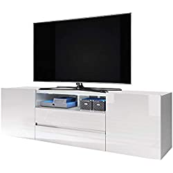 Selsey Bros - Meuble TV / Banc TV (137 cm, Blanc Mat / Blanc Brillant, avec LED)