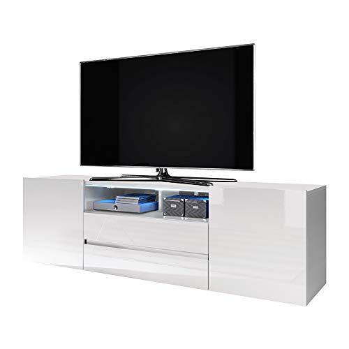 Selsey Bros - Fernsehschrank / TV-Lowboard in Weiß mit Hochglanzfronten und LED-Beleuchtung ca. 140 cm