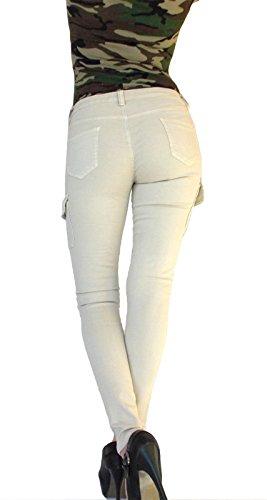 Damen Skinny Cargo Hose Army Military Stretch Creme