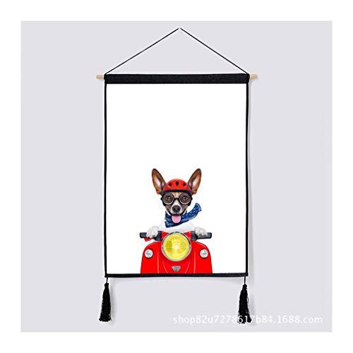 HYZCYGH Nordic Moderne Gemälde Einfachen Niedlichen Hund Tier Dekorative Malerei Wohnzimmer Esszimmer Stoff Hängen Tapisserie