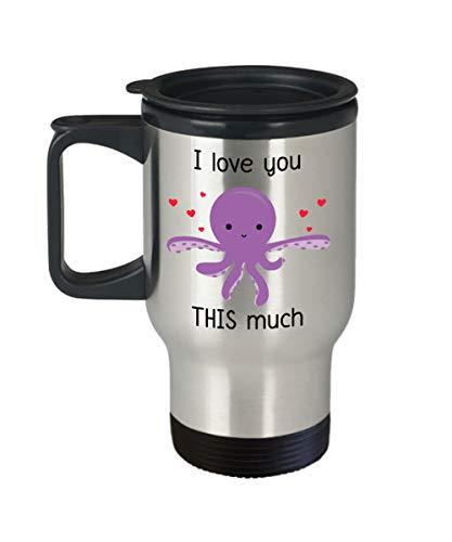 Octopus Thermobecher I Love You This Much Funny Tea Hot Kakao Isolierbecher Neuheit Geburtstag Weihnachten Jahrestag Gag Geschenk Idee 396 ml Silber
