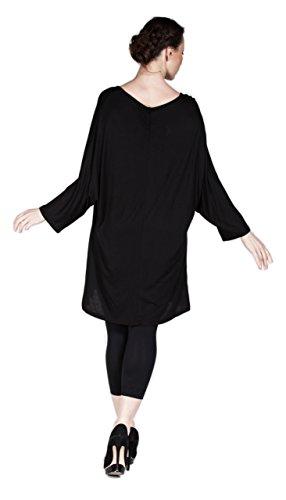 Loose Fit Damen Tunika auch in PLUS SIZE, Oberteil Asymmetrisch aus leichtem Material, verschiedene Farben - auch Übergrößen Schwarz