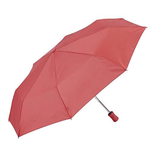 EZPELETA Paraguas Plegable antiviento de Mujer, Abre-Cierra automático con puño Recto. Tejido Liso Colores - Fresa, 19